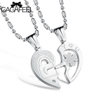 Fashion Stainless Steel Jewelry Men Lovers Pendant Necklace I love You Link Chain Lucky Clover Crystal Zircon Collier N553
