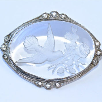 Czech Glass Bird Brooch Vintage Pin