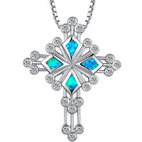Sterling Silver Budded Cross W. Blue and Green Fire Opal Pendant Necklace