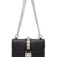 Valentino | Small Lock Flap Bag in Black www.FORWARDbyelysewalker.com