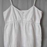 French top, white cotton, boho, french country, summer top, white top, cottage style, recycled top, upcycled clothing