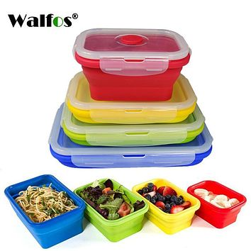 WALFOS Folding Silicone Lunch Box Food Storage Container Kitchen Microwave Tableware Portable Household Outdoor Food box