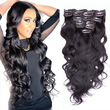 Brazilian Clip In Human Hair Extensions 7/8/10Pcs/Set Full Head Brazilian Body Wave 16 inch