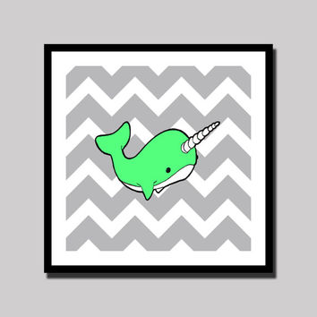 Narwhal Art Print - Green with Grey Chevron - Whale - Ocean - Sea - Children's - Nursery - Decor