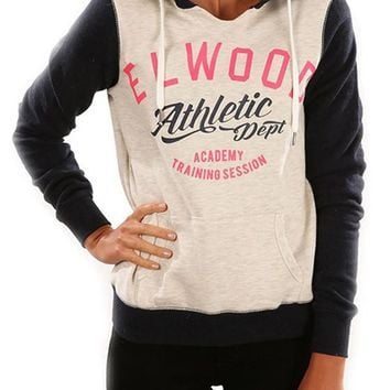 Pink Monogram Print Pockets Hooded Long Sleeve Casual Pullover Sweatshirt