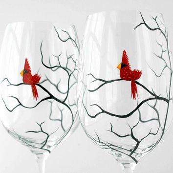 Red Cardinals Wine Glasses - Set of 4 Hand Painted Christmas Cardinal Glasses