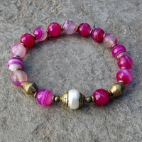 Grounding, Pink Agate Mala Bracelet with Tibetan Capped Pearl