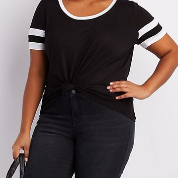 Plus Size Scoop Neck Football Tee