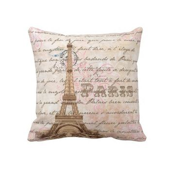 Paris Vintage French Writing Pink Pillow