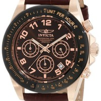 Attractive Brown Dial & Leather Speedway Invicta 10712 Men's Watch