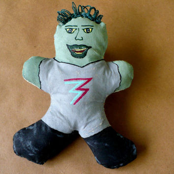 Gingerbread Zombie Cloth Doll - Eighties - Hand Painted - Cotton Filled - OOAK
