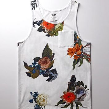 On The Byas - Star Wars Darth Vader Floral Tank Top - Mens Tee - White