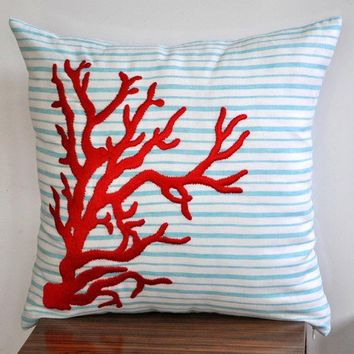 Red Nautical Coral Throw Pillow Cover 18 x 18 Linen by Kainkain
