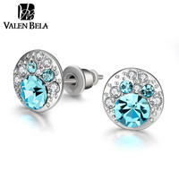 VALEN BELA Light Blue Crystals Stud Earrings White Gold Plated Orecchini Rose Gold Earings Women Fashion Jewelry ED2251