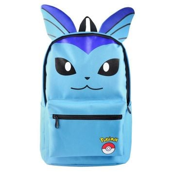 Pokemon Vaporeon Glaceon Cartoon Bag Backpack Boys Girls School Bags For Teenagers Student Canvas Backpacks Gift