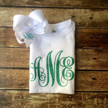 Personalized - Glitter Monogram T Shirt and Hair Bow - Monogrammed Gift set -  Monogrammed Gift, Dance, Cheerleaders, Teens, Girls