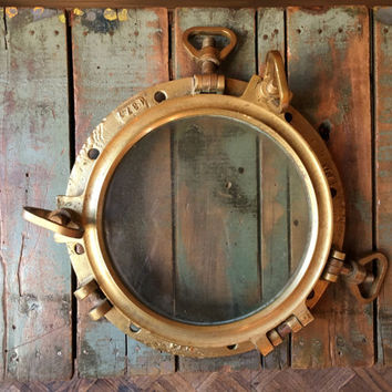 Antique Porthole, LARGE Brass Porthole, Porthole Window, Nautical Decor, Nautical Nursery