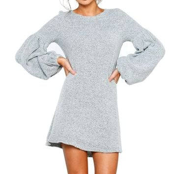 2018 New Loose Casual Women Dress Autumn Winter Knitted Sweaters Long Sleeve Dresses Plus Size