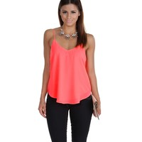 Sale-neon Pink Bright Eyes Tank Top