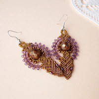 Micro macrame earrings - Antique Gold Purple Boho Unique
