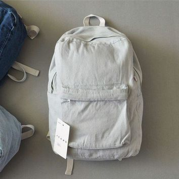DCCK8H2 Retro simple AA denim backpack bag men and women backpack large capacity bag casual solid color