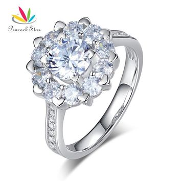 Peacock Star Floral Halo Pave Setting 925 Sterling Silver Wedding Promise Anniversary Ring 1 Ct CFR8265