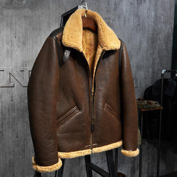 Original Flying Jacket  B3 Jacket Men's Shearling Leather Jacket Men's Fur Coat Aviation Leathercraft Pilots Coat WZS009