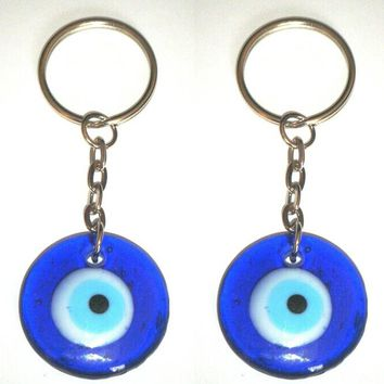10PCS/lot Fashion Vintage Silver Blue Evil Eye Charms Pendants Keychain Gifts Fit DIY Key Chain Accessories Jewelry  Free D411