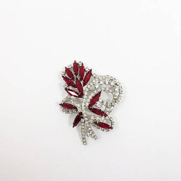 Eisenberg Ice Rhinestone Brooch Vintage 1970s Silver Tone Floral Bouquet Pin Red Navettes Clear Rhinestones Prong Set Bridal Wedding