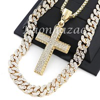 "MENS 14K GOLD PT JESUS CROSS 18"" TENNIS CHAIN 16"" 30"" CHOKER CUBAN CHAIN S30G"