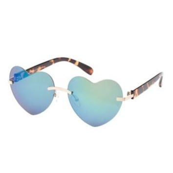 Gold Rimless Heart-Shaped Sunglasses by Charlotte Russe