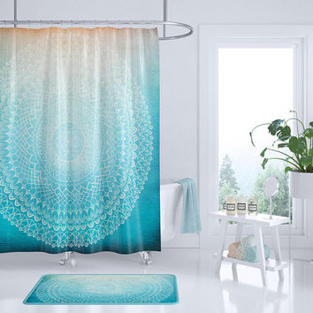 Complex Mandala Shower Curtain - teal coral peach, geometric mandala, boho chic