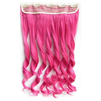 Colorful Straight Hair Extension 5 Clips Wig    Peach pink# peach