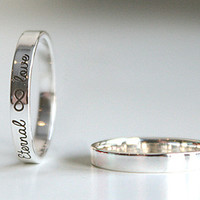 Personalized Ring Silver Ring Sterling Silver Engraved Ring 3 mm width