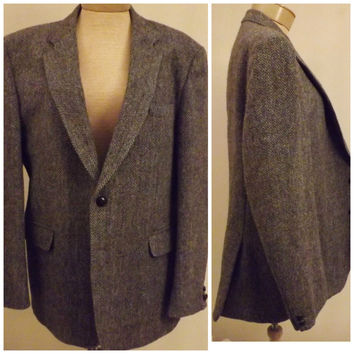 60s Harris Tweed Vintage Mens Gray Jacket  Sport Coat   Size 40 S