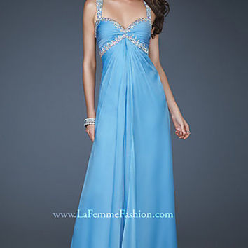 Full Length Chiffon Sweetheart Prom Gown by La Femme