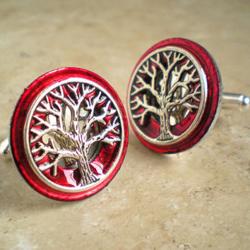 Cufflinks: Tree of Life - Red - Mens Gift - Boyfriend Gift - Valentine Gift - Celtic Cufflinks - Best Man Gift - Mens Jewelry