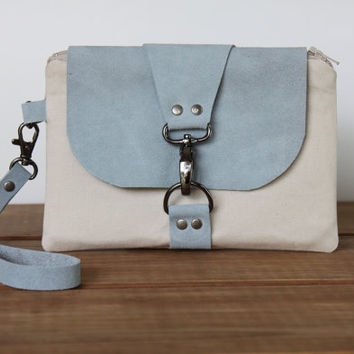 Beige Woman's Wristlet with Blue Suede, Powder Blue Leather and Taupe Wrist Wallet, Small Handbag, Cell Phone Wristlet
