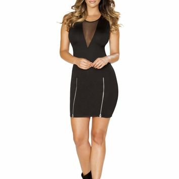 Roma USA Sexy Dresses Mini Dress with Double Slit Zipper Detail and Sheer V Neck Detail