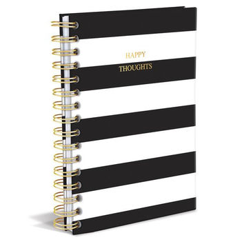 Happy Thoughts Hard Cover Journal in Black Stripe / Metallic Gold