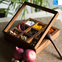 ExclusiveLane Spice Box With Container In Sheesham Wood With Spoon