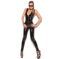 Elegant Moments EM-V9216 Deep V vinyl cat suit with zipper front