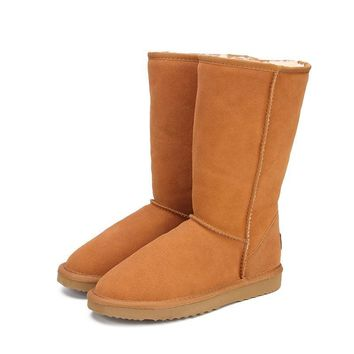 Genuine Leather Fur Snow Boots