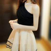 ELEGANT ONE SHOULDER RUFFLE FORMAL STYLE DRESS