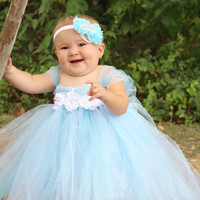 Beautiful Cinderella Tutu Dress Costume with Crown Headband for Baby Girl 6-18 Months First Birthday
