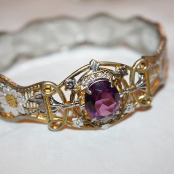 Art Deco Filigree Bangle Bracelet Amethyst 2 Tone Gold Filled 1920s Jewelry