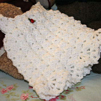 White crochet baby dress crochetyknitsnbits High quality hand made baby girl clothes layette baby shower gift OOAK New born 0 to 3 months