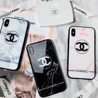 Chanel Trending Stylish Marble Pattern Toughened Glass Phone Case Protective Shell For iphone 6 6s 6plus 6s-plus 7 7plus 8 8plus X I12293-1