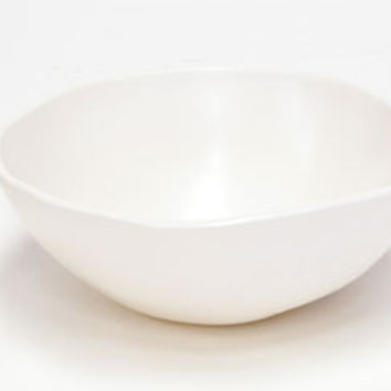 "Matte White Ceramic 9"" Round Bowl"