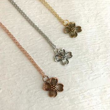 Tiny Dogwood Flower Necklace, silver gold or rose gold, small flower pendant, little dogwood charm, North Carolina flower, gift for child